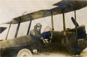 Cyril Crapp at the controls of his aeroplane