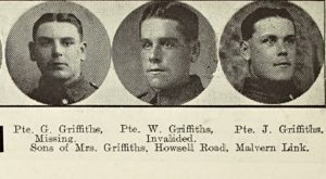 George Griffiths was one of three brothers affected by the war.