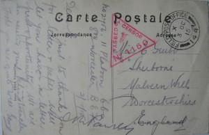 Postcard sent by George Grubb from France in October 1915