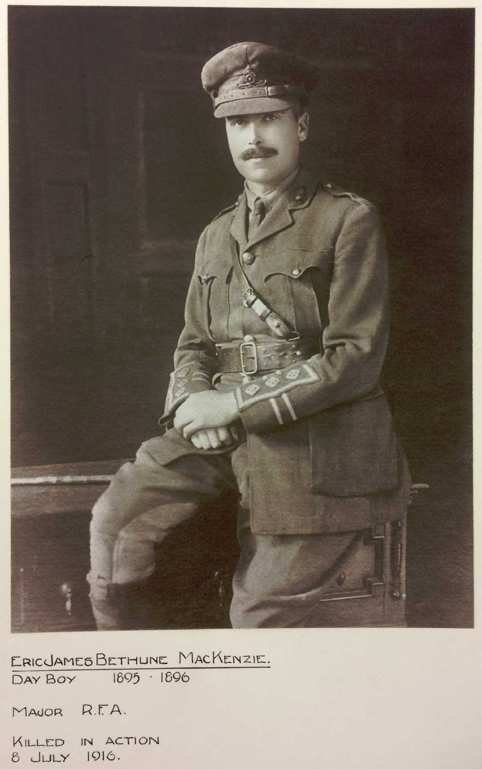 captain eric james bethune mackenzie royal field artillery kia france 8 7 1916. Black Bedroom Furniture Sets. Home Design Ideas