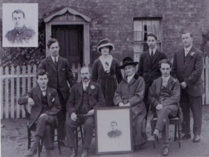 Taken outside Edith Cottage, Moorlands Road. (seated l-r) Harry Monk, Martha Myra Monk, John Monk, Bernard Monk, (standing l-r) Ray, Ina Monk, Charles Monk, Edwin (Ted) Monk. The photograph is that of Roland Monk